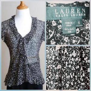 Ralph Lauren floral ruffle silk blouse